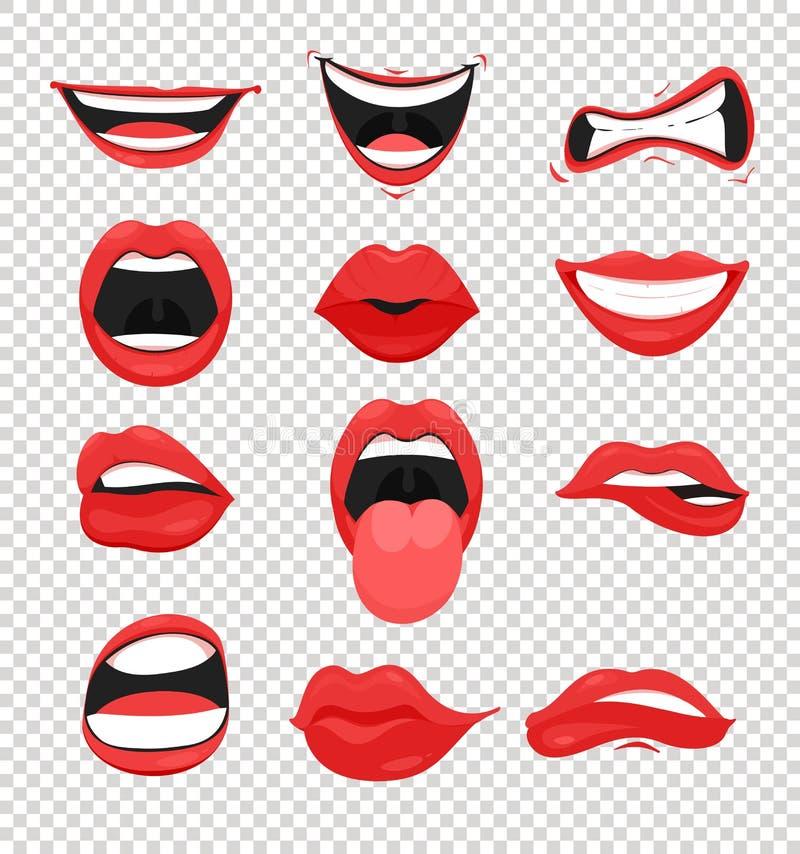Wektorowy ilustracyjny ustawiający czerwone kobiet wargi Usta z buziaka, uśmiechu, jęzoru i wiele emocj usta emoji na przejrzysty ilustracja wektor