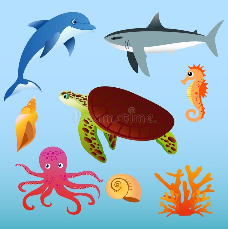 Wektorowy ilustracyjny ustawiający denni zwierzęta na bławym koloru tle w płaskim kreskówka stylu royalty ilustracja