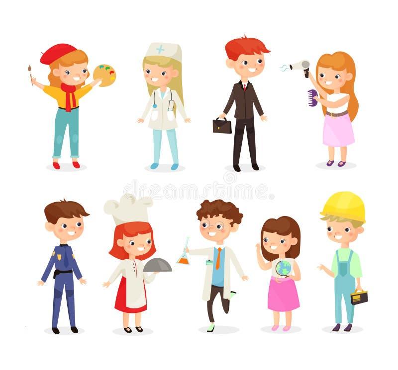 Wektorowy ilustracyjny ustawiający dzieciak chłopiec i dziewczyny różni zawody Lekarka, budowniczy, kucharz, policjant i ilustracji