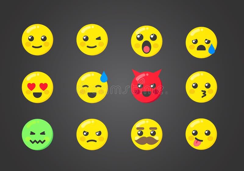 Wektorowy Ilustracyjny Ustawiający Emoticons Z Ciekawymi wyrażeniami royalty ilustracja
