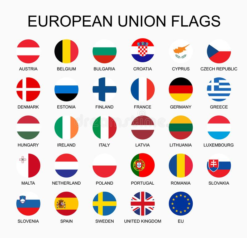 Wektorowy ilustracyjny ustawiający Europejskiego zjednoczenia krajów flaga na białym tle UE członków flaga ilustracji