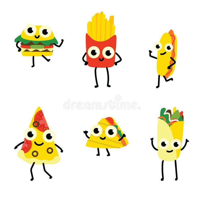Wektorowy ilustracyjny ustawiający fast food postacie z kreskówki w mieszkanie stylu odizolowywającym na białym tle royalty ilustracja