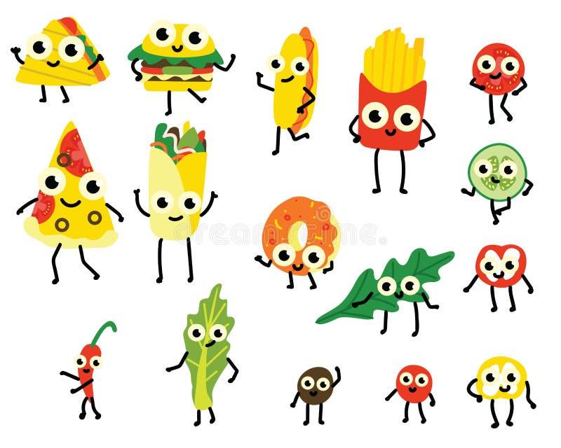 Wektorowy ilustracyjny ustawiający fasta food i warzywa składników postacie z kreskówki w mieszkaniu projektuje ilustracja wektor