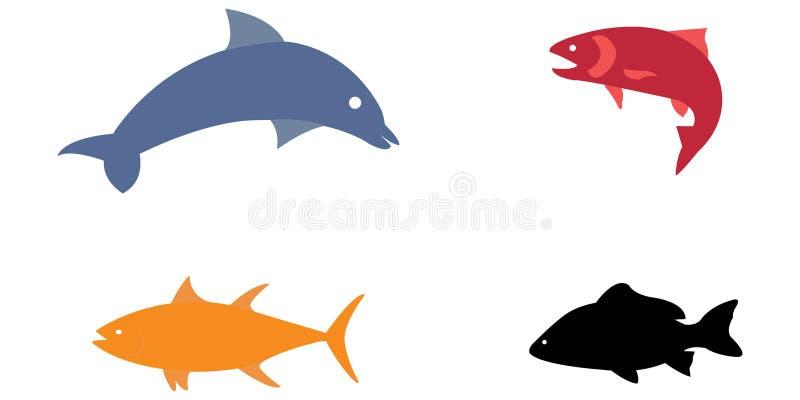 Wektorowy ilustracyjny ustawiający kolorowi denni zwierzęta ilustracji