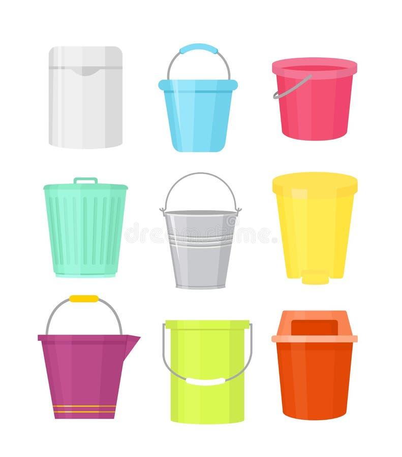 Wektorowy ilustracyjny ustawiający kolorowych wiader różni kształty Zbiorniki z rękojeścią w kreskówki mieszkaniu projektują na b royalty ilustracja