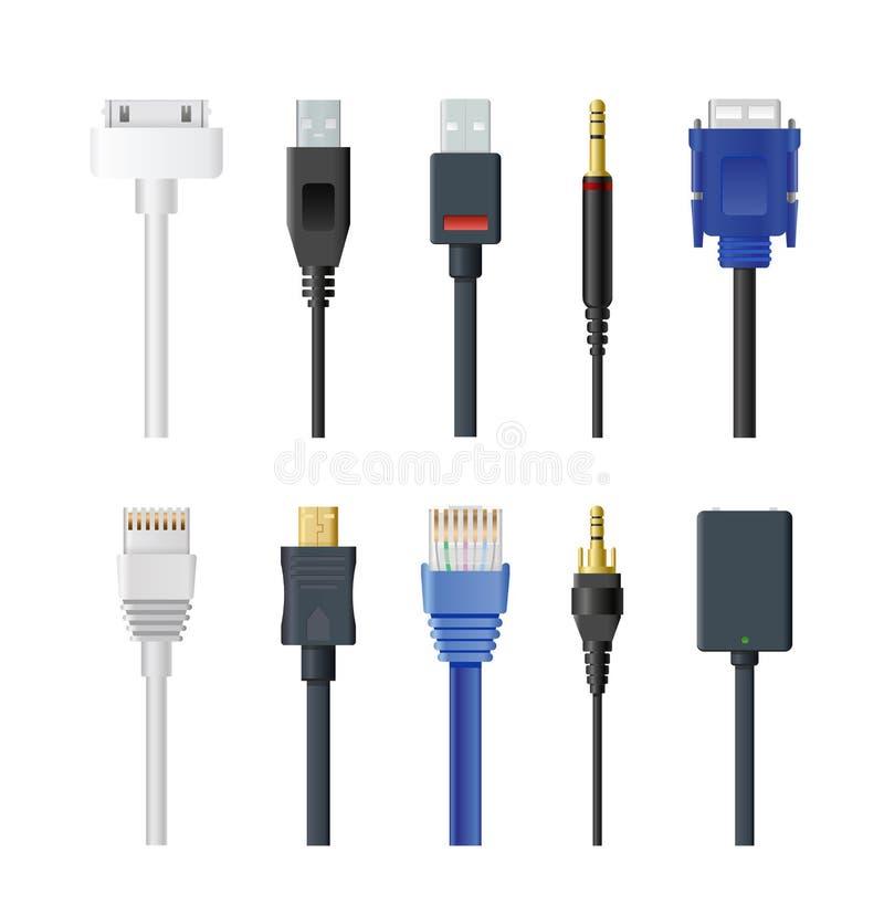Wektorowy ilustracyjny ustawiający nasadka, kabel, prymka, drut, komputer, audio, usb, hdmi, sieć i elektryczny inny, ilustracja wektor