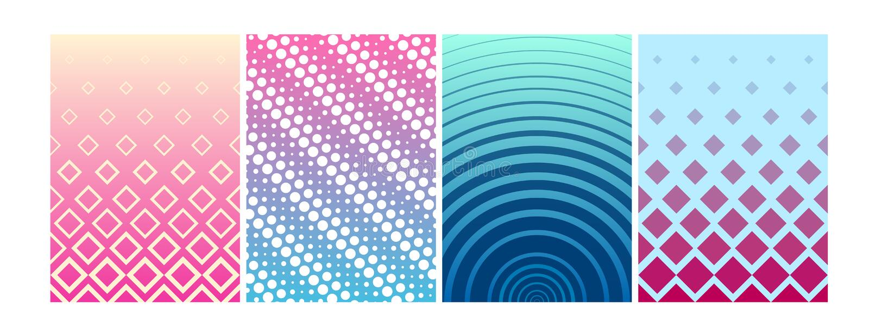 Wektorowy ilustracyjny ustawiający pokrywa projekt Kolorowi halftone gradienty, tło geometryczni wzory w mieszkaniu projektują royalty ilustracja