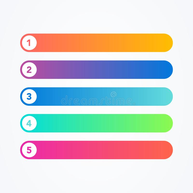 Wektorowy Ilustracyjny ustawiający różnej mieszkanie linii kolorowy nowożytny styl zapina na białym tle Jeden Dwa Trzy Cztery Pię ilustracja wektor