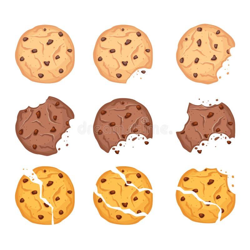 Wektorowy ilustracyjny ustawiający różni kształta oatmeal, czekoladowych i wheaten ciastka z, ilustracji