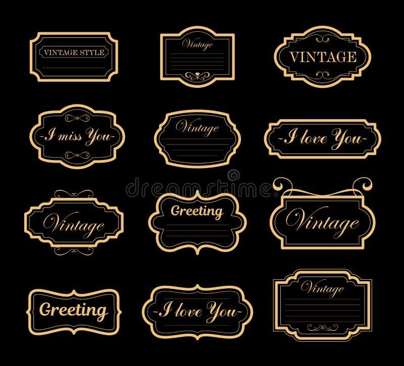 Wektorowy ilustracyjny ustawiający roczników ornamentów dekoracje projektuje elementy Retro i antyk ramy, etykietki, emblematy da ilustracja wektor