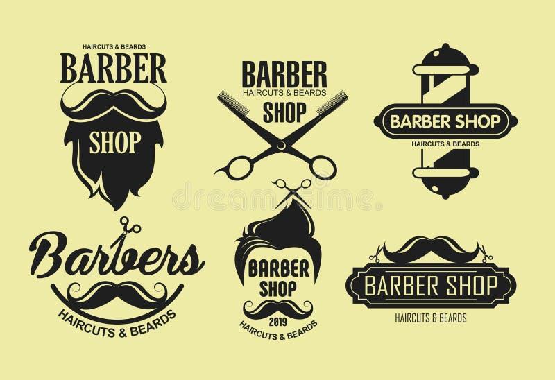 Wektorowy ilustracyjny ustawiaj?cy rocznika fryzjera m?skiego sklepu emblematy w retro stylu odizolowywaj?cym na ? royalty ilustracja