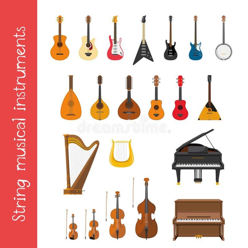 Wektorowy ilustracyjny ustawiający smyczkowi instrumenty muzyczni w kreskówka stylu royalty ilustracja
