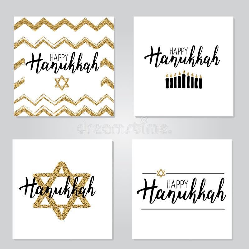 Wektorowy ilustracyjny ustawiający Szczęśliwy Hanukkah royalty ilustracja