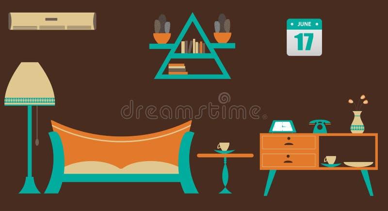 Wektorowy Ilustracyjny uwypukla płaski żywy pokój ilustracja wektor