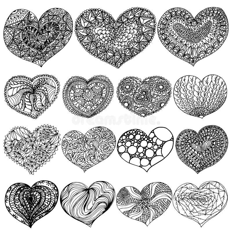 Wektorowy ilustracyjny walentynka dzień ustawiający zenart serca obrysowywa czerń na białym tle ilustracji