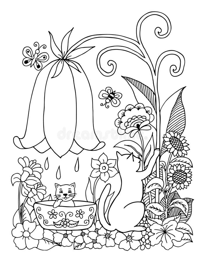 Wektorowy ilustracyjny zentangl kot kąpać figlarki na naturze Doodle rysunek Medytacyjni ćwiczenia Kolorystyki książki anty stres ilustracji