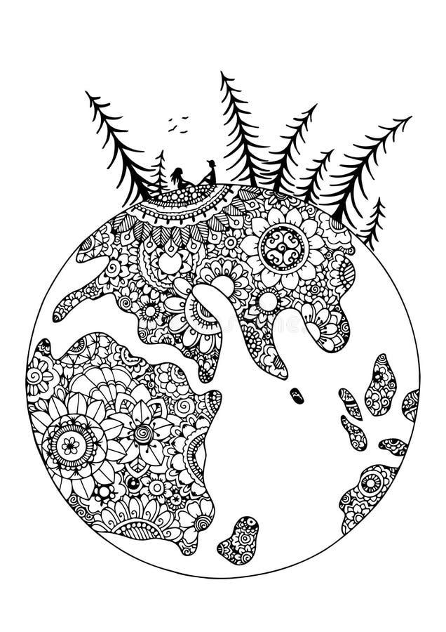 Wektorowy ilustracyjny zentangl, kula ziemska w kwiatach Para kochankowie Doodle rysunkowy pióro Barwić stronę dla dorosłego stre royalty ilustracja