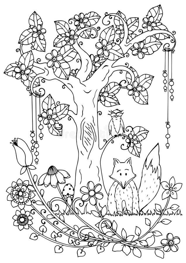 Wektorowy ilustracyjny zentangl, lis i drewno, Doodle rysunkowy pióro Barwić stronę dla dorosłego stresu Czarny biel royalty ilustracja