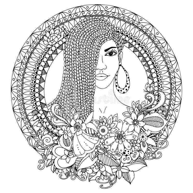 Wektorowy ilustracyjny zentangl, oliwkowa kobieta z warkoczami Afrykańskimi w kwiecistej round ramie doodle Kolorystyki książka a ilustracji
