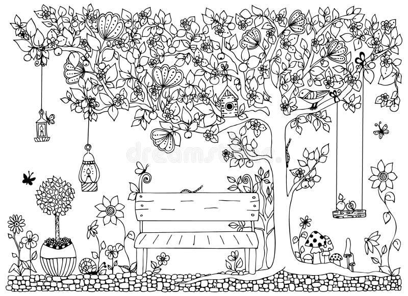 Wektorowy ilustracyjny zentangle park, ogród, wiosna: ławka, drzewo z jabłkami, kwiaty, huśtawka, doodle, zenart, dudling