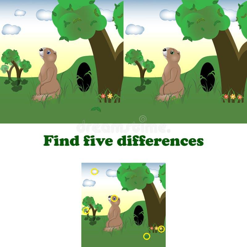 Wektorowy ilustracyjny znalezisko pięć różnic ilustracja wektor