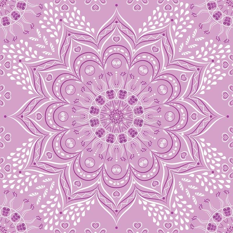 Wektorowy Indiański kwiecisty bez i purpurowy mandala ilustracja wektor