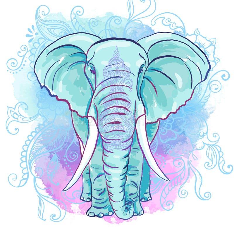 Wektorowy Indiański słoń na akwarela kleksie ilustracja wektor
