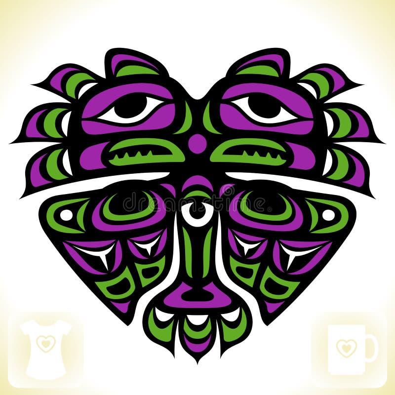 Wektorowy indianina wzór w formie serca ilustracja wektor