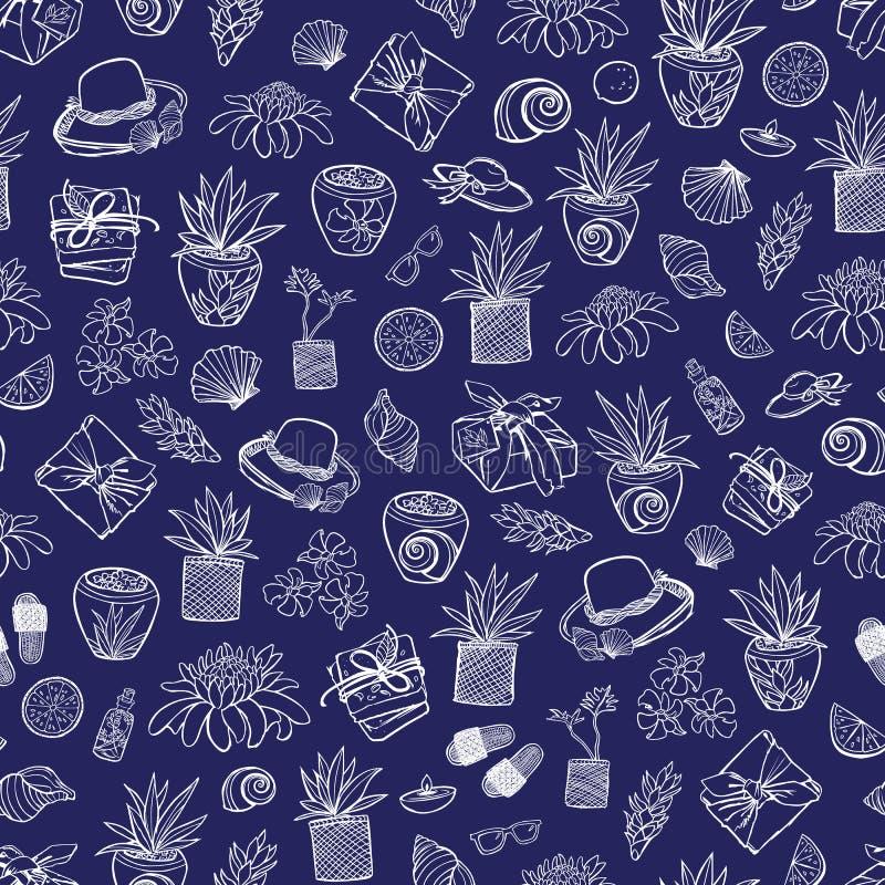 Wektorowy indygowego błękita miejscowości nadmorskiej zdroju powtórki tropikalny wzór z wiele elementami Stosowny dla opakunku, t ilustracja wektor