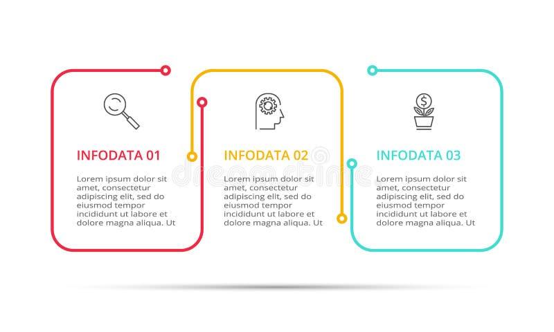 Wektorowy Infographic cienki kreskowy projekt z ikonami, 3 kroki i opcje lub Infographics dla biznesowego poj?cia royalty ilustracja