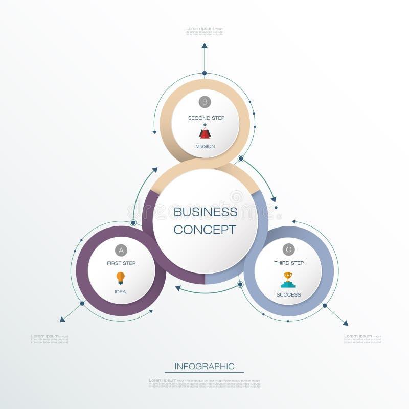 Wektorowy Infographic 3D okręgu etykietki projekt z strzała znakiem, 3 kroki i opcje lub royalty ilustracja
