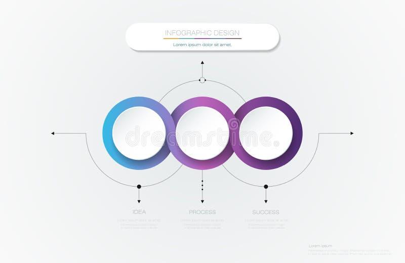 Wektorowy Infographic 3d okręgu etykietki szablonu projekt ilustracji