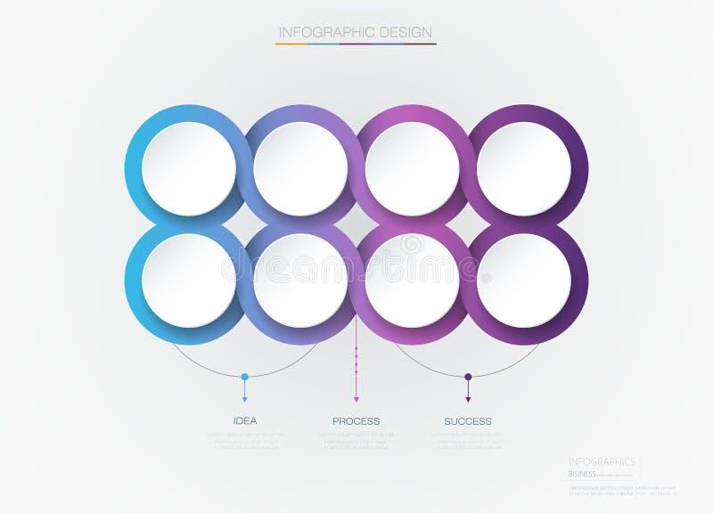 Wektorowy Infographic 3d okręgu etykietki szablonu projekt Infograph royalty ilustracja