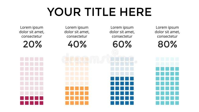 Wektorowy infographic, diagram mapa, wykres prezentacja Biznesowy szablon z 4 opcjami, części, kroki, procesy 16x9 ilustracji