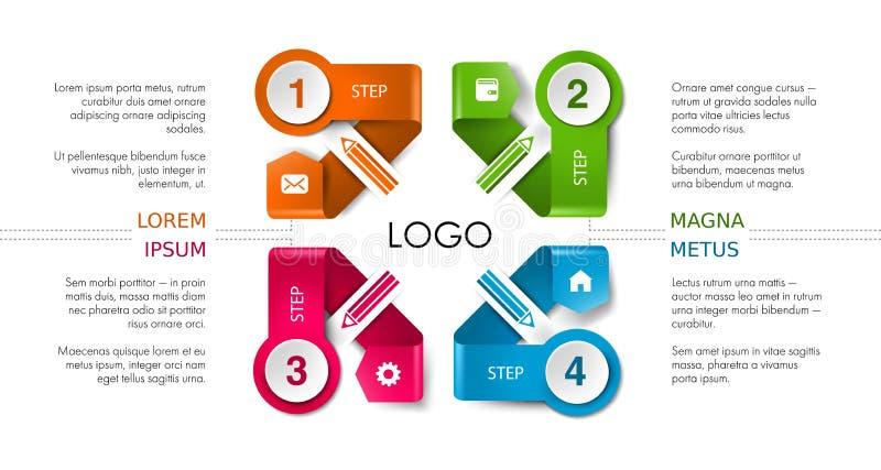 Wektorowy infographic linia czasu szablon z ikonami ilustracja wektor