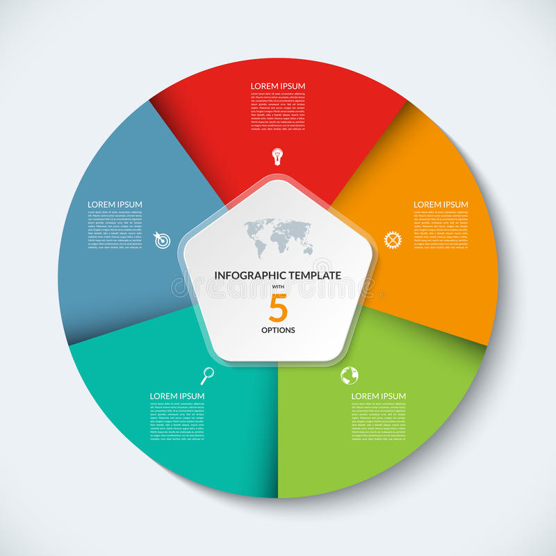 Wektorowy infographic okręgu szablon Biznesowy pojęcie z 5 opcjami royalty ilustracja