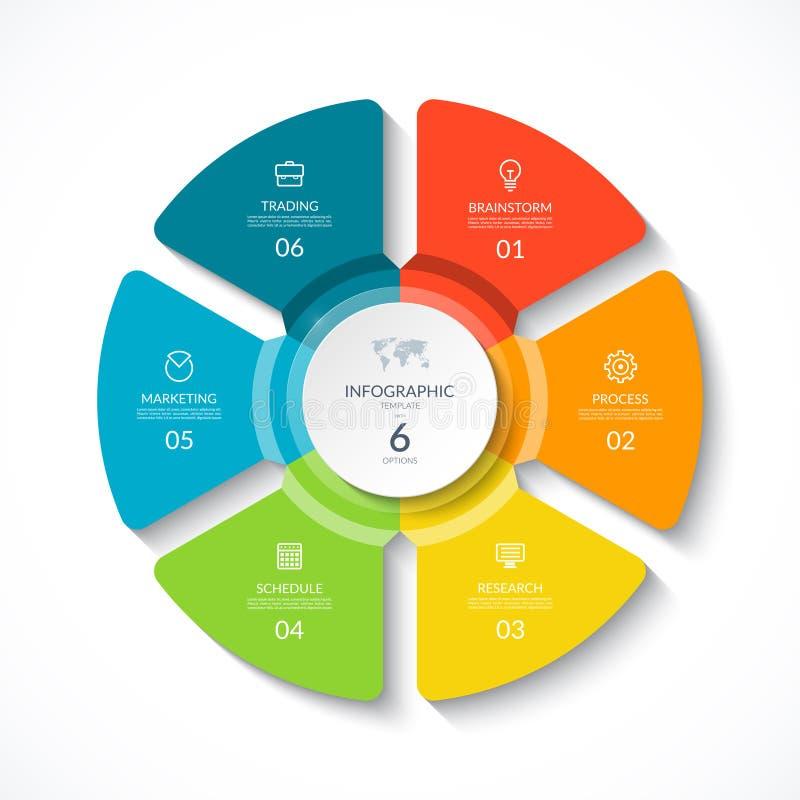 Wektorowy infographic okr?g Cyklu diagram z 6 opcjami royalty ilustracja