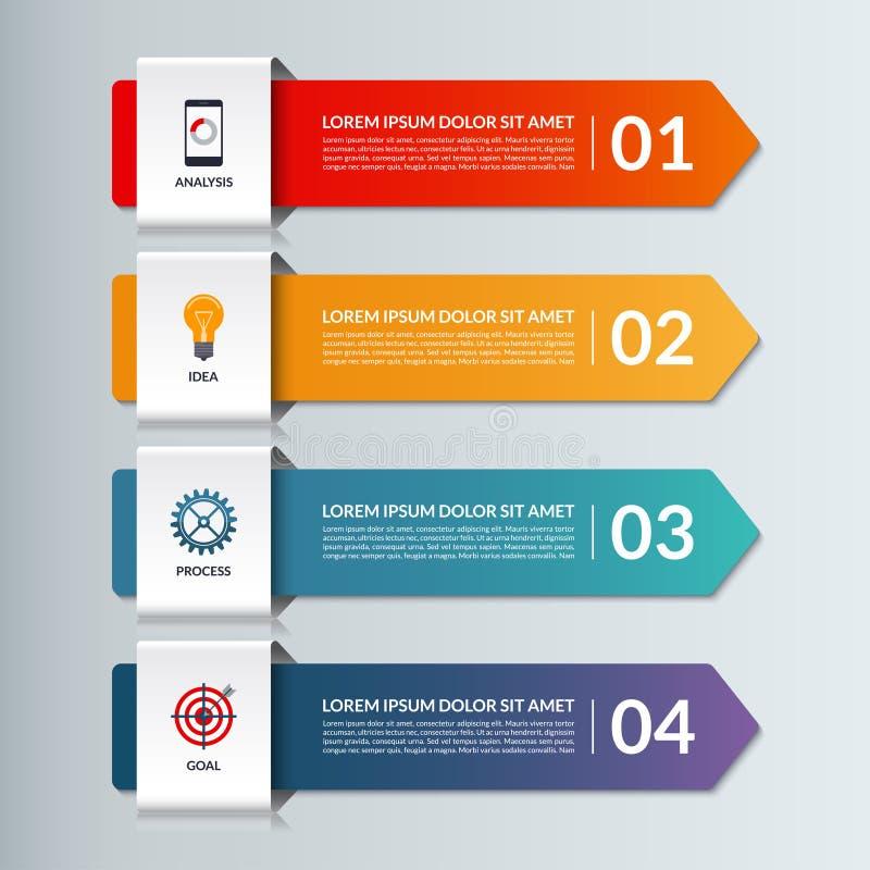 Wektorowy infographic opcja sztandar z 4 strzała ilustracja wektor