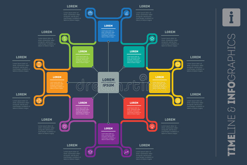Wektorowy Infographic raport z ikonami Szablon dla Ewidencyjnej grafiki, ilustracji