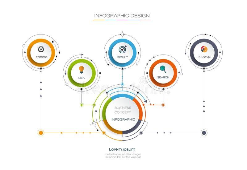 Wektorowy infographic szablon Biznesowy pojęcie z opcjami ilustracja wektor