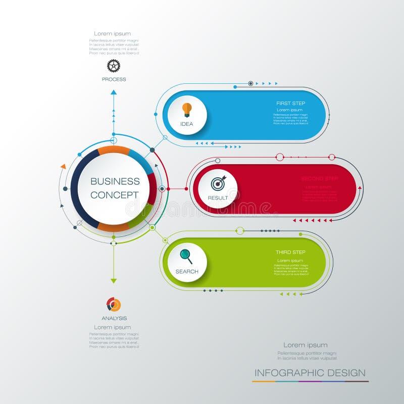 Wektorowy infographic szablon z 3D papieru etykietką, zintegrowani okręgi Biznesowy pojęcie z opcjami royalty ilustracja
