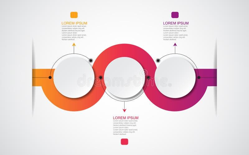 Wektorowy infographic szablon z 3D papieru etykietką, zintegrowani okręgi Może używać dla obieg układu, diagram, biznesowy kroka