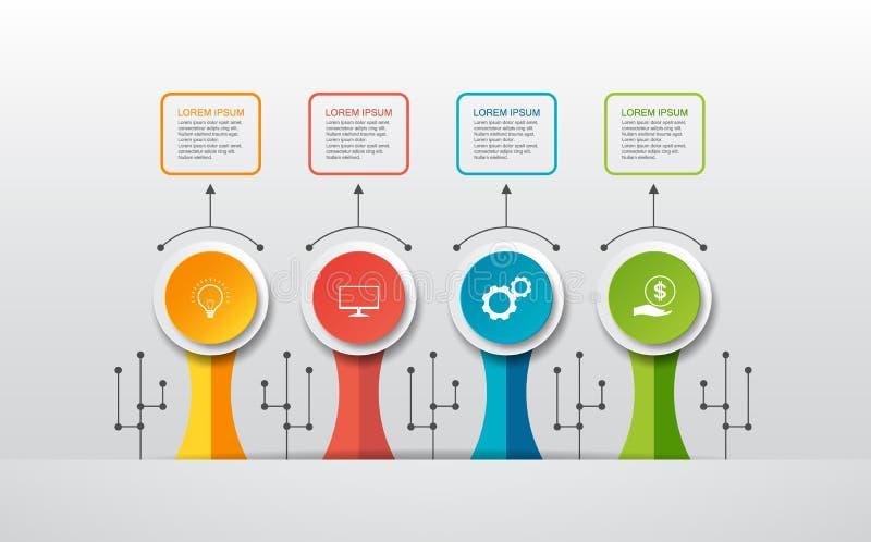 Wektorowy infographic szablon z 3D papieru etykietką, zintegrowani okręgi Może używać dla obieg układu, diagram, pomysłu biznesow ilustracja wektor