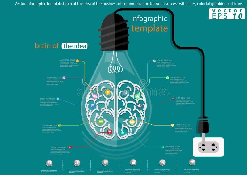 Wektorowy Infographic szablonu mózg pomysł biznes komunikacja dla Aqua sukcesu z liniami, kolorowymi grafika, i ilustracja wektor