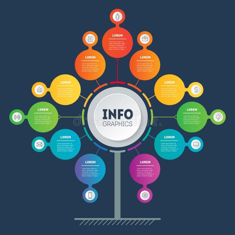 Wektorowy infographic technologia lub edukacja z 11 krokiem Biznesowy prezentacji pojęcie z jedenaście opcjami Sieć szablon ilustracja wektor