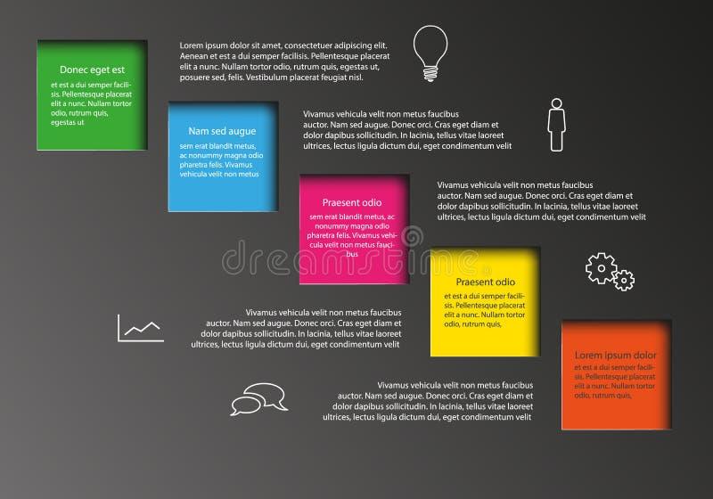 Wektorowy Infographic z kolorów kwadratami dla teksta ilustracja wektor