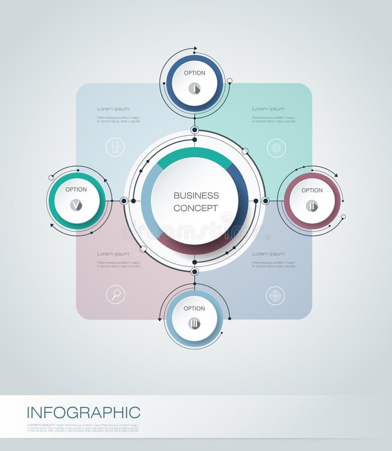Wektorowy infographics, 3D papieru cyklu diagrama szablon royalty ilustracja