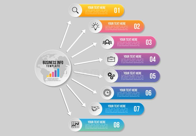 Wektorowy Infographics element?w szablonu projekt z opcja krokami Biznesowych dane unaocznienia linia czasu z Marketingowymi ikon ilustracji