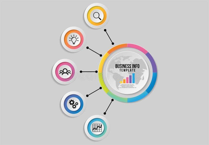 Wektorowy Infographics element?w szablonu projekt z opcja krokami Biznesowych dane unaocznienia linia czasu z Marketingowymi ikon ilustracja wektor