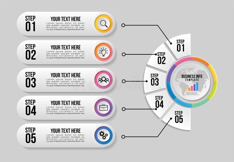 Wektorowy Infographics element?w szablonu projekt z opcja krokami Biznesowych dane unaocznienia linia czasu z Marketingowymi ikon royalty ilustracja